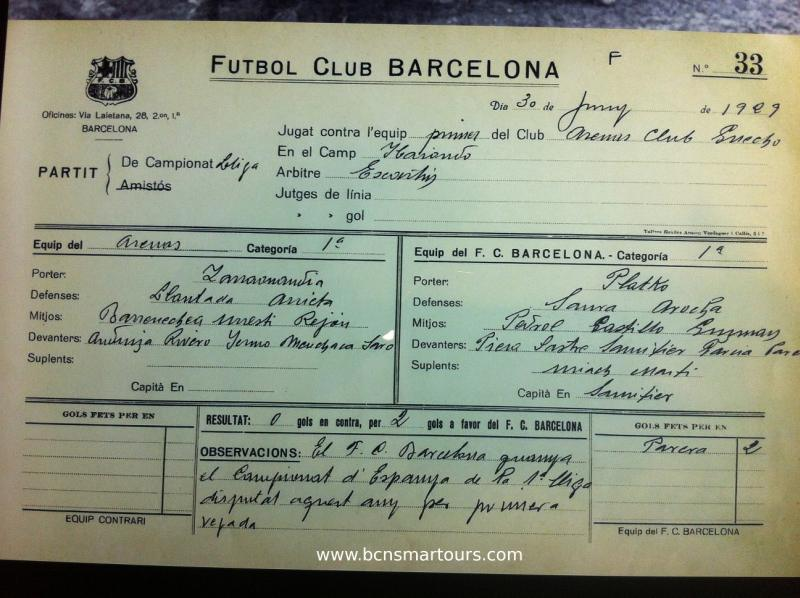 Documento acreditativo 1a. liga FCBarcelona